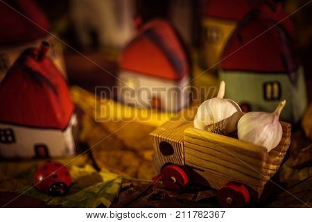 Fairytale Dwarf Houses And In Autumn Forest. Handmade Wooden Toys