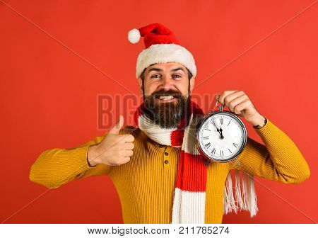 Winter Holiday And Countdown Concept. Man With Beard