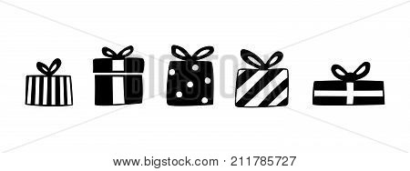 Gift box silhoutte set. Collection for christmas, valentines day, birthday. Hand drawing signs of presents isolated on white, vector illustration. Giftboxes for design greeting card