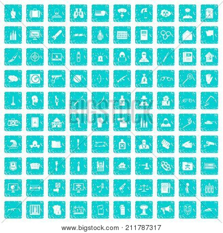 100 violation icons set in grunge style blue color isolated on white background vector illustration