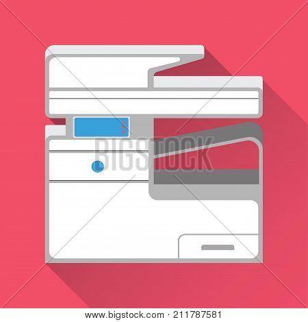 Multifunction Printer and Copier. Flat design. Vector illustration.