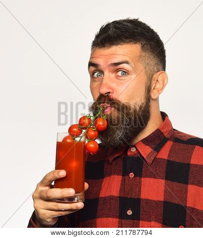 Man With Beard Drinks Tomato Juice Isolated On White Background.