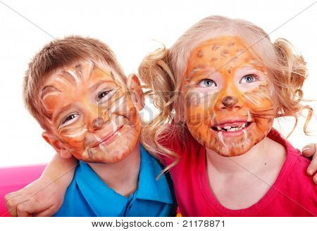 Children with paint of face. Make up.