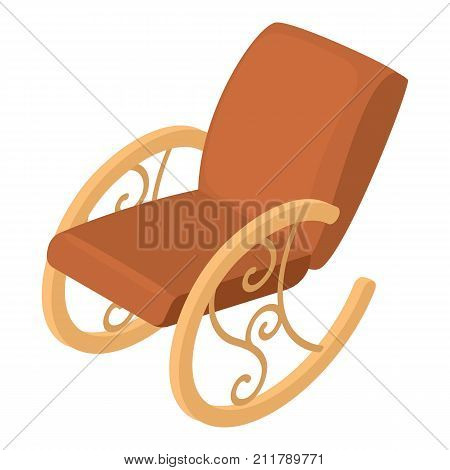 Rocking chair icon. Isometric illustration of rocking chair vector icon for web