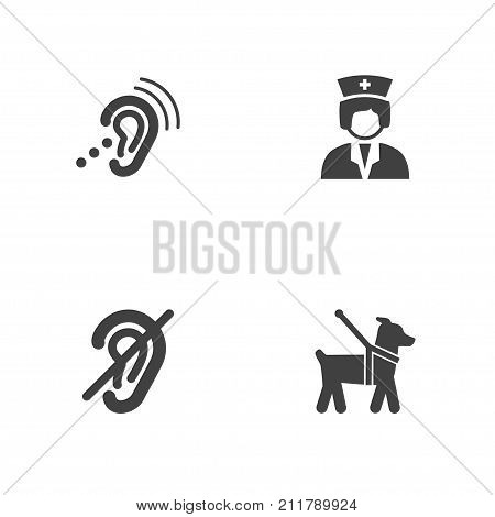 Collection Of Listening Device, Hard Of Hearing, Assistance And Other Elements.  Set Of 4 Accessibility Icons Set.
