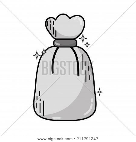 grayscale garbage bag object with biodegradable trash vector illustration