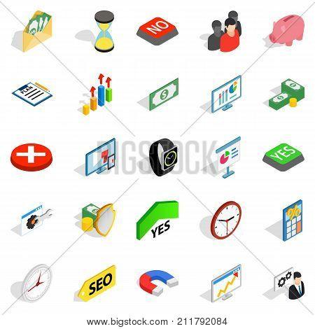 Transaction icons set. Isometric set of 25 transaction vector icons for web isolated on white background