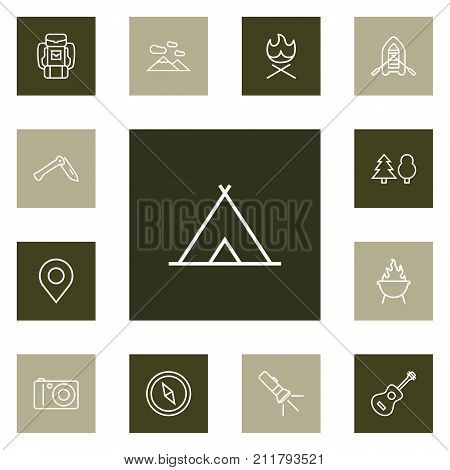 Collection Of Penknife, Shelter, Grill And Other Elements.  Set Of 13 Outdoor Outline Icons Set.