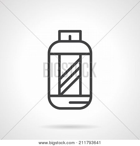 Abstract symbol of jar for amino acids. Nutrition supplements for sport, bodybuilding, fitness. Flat black line vector icon.
