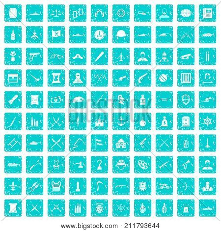 100 weapons icons set in grunge style blue color isolated on white background vector illustration