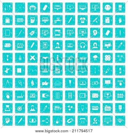100 webdesign icons set in grunge style blue color isolated on white background vector illustration