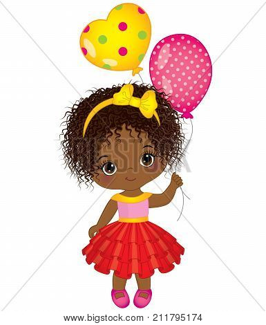 Vector cute little African American girl with balloons. Vector little girl. Little African American girl with balloons vector illustration