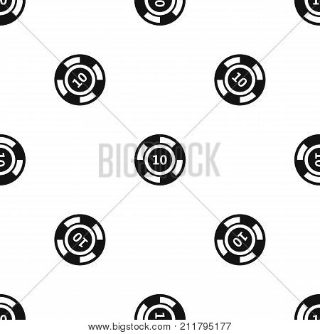 Casino chip pattern repeat seamless in black color for any design. Vector geometric illustration
