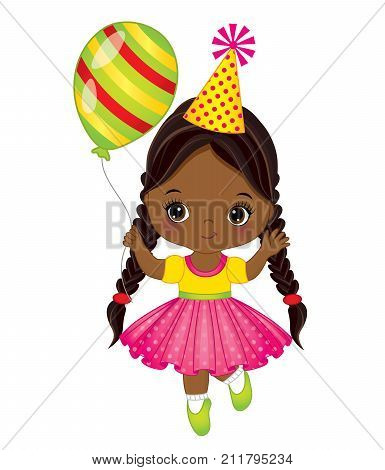 Vector cute little African American girl with balloon. Vector little girl. Little African American girl with balloon vector illustration