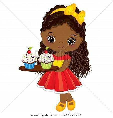Vector cute little African American girl holding tray with cupcakes. Vector little girl. Little African American girl with cupcakes vector illustration