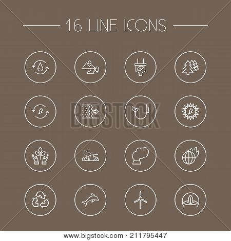Collection Of Eco, Renewable Energy, Nature And Other Elements.  Set Of 16 Atmosphere Outline Icons Set.