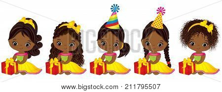 Vector cute little African American girls with gift boxes. Vector little girls with various hairstyles. Vector little girl.  Little African American girls with gift boxes vector illustration