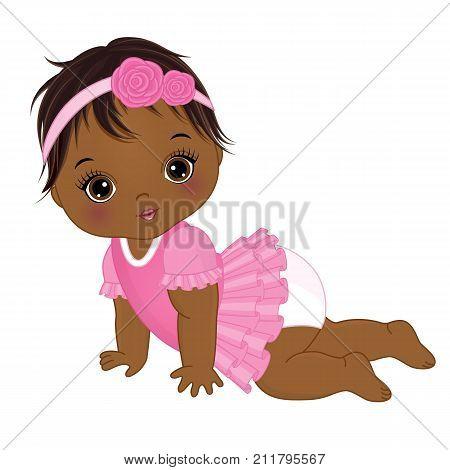 Vector cute African American baby girl crawling. Vector baby girl. African American baby girl vector illustration