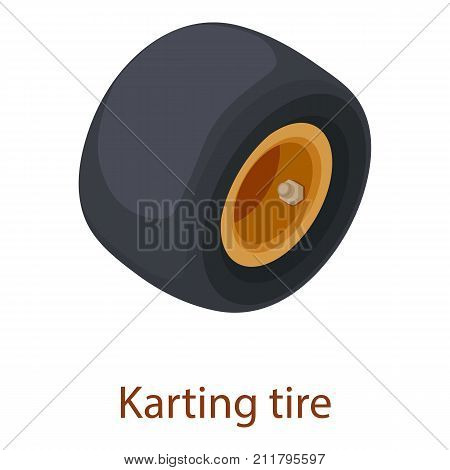 Karting tire icon. Isometric illustration of karting tire vector icon for web