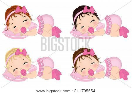 Vector cute baby girls sleeping. Vector baby girls with various hair colors. Vector baby girl. Baby girl vector illustration