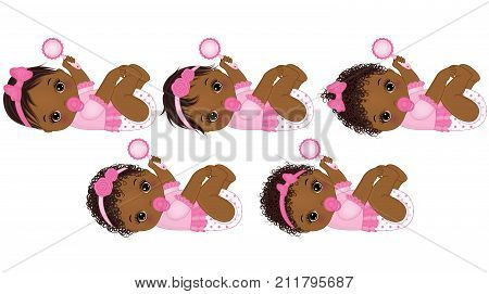 Vector cute African American baby girls with rattle. Vector African American baby girls with various hairstyles. Vector baby girl. African American baby girl vector illustration