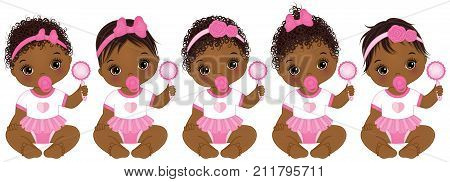 Vector cute African American baby girls with rattles sitting. Vector African American baby girls with various hairstyles. Vector baby girl. African American baby girls vector illustration