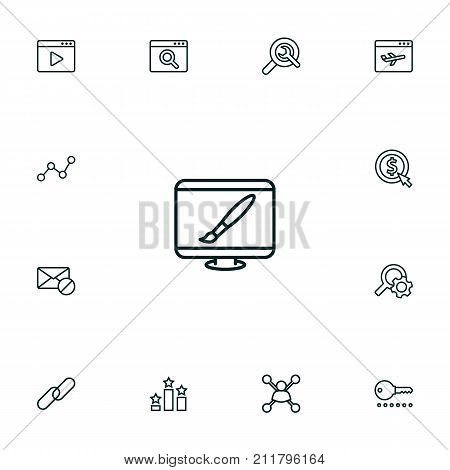 Collection Of Cost Per, Wrench, Password And Other Elements.  Set Of 13 Optimization Outline Icons Set.