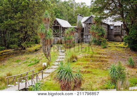 The original Waldheim (forest home) was built by Gustav and Kate Weindorfer as a rustic home and guest chalet in 1912 - Cradle Mountain, Tasmania, Australia