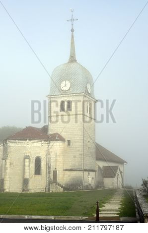 Abbey Church In Jura, France And Cure (house Of The Priest).