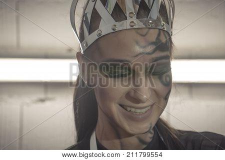 Beautiful Queen. Beautiful Portrait Of A Girl. Girl With A Tattoo On Her Face. Beautiful Girl With A