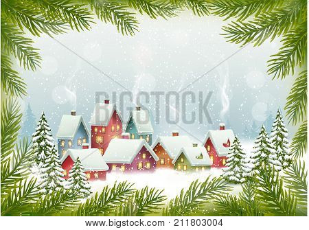 Christmas background with presents on a sleigh. Vector illustration