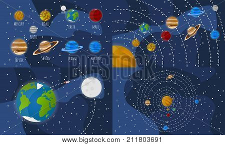 Set of 4 Solar system illustrations and Solar system planets icons. Vector Illustrations. Each illustration on separate layers