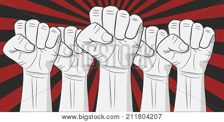 Human hands up on the retro background. Revolution vector illustration