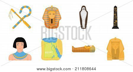 Ancient Egypt icons in set collection for design. The reign of Pharaoh vector symbol stock  illustration.