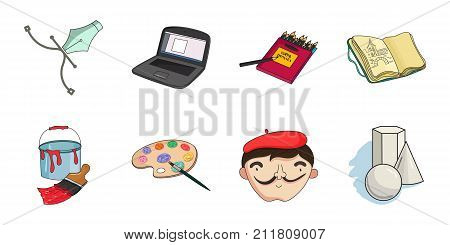 Painter and drawing icons in set collection for design. Artistic accessories vector symbol stock  illustration.