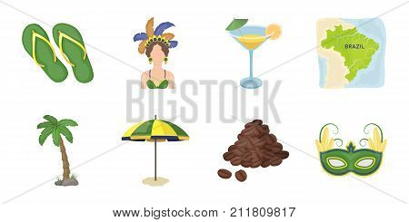 Country Brazil icons in set collection for design. Travel and attractions vector symbol stock  illustration.