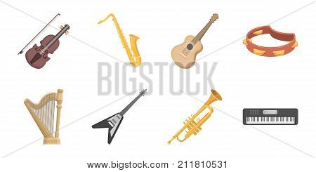 Musical instrument icons in set collection for design. String and Wind vector symbol stock  illustration.