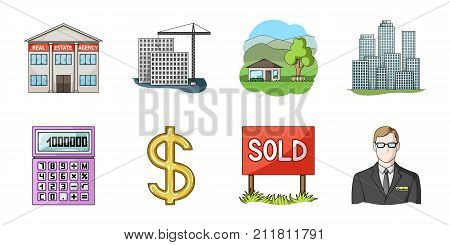 Realtor, agency icons in set collection for design. Buying and selling real estatevector symbol stock  illustration.