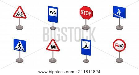 Different types of road signs icons in set collection for design. Warning and prohibition vector symbol stock  illustration.