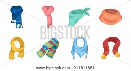 Scarf and Shawl icons in set collection for design.Clothes and Accessory vector symbol stock  illustration.