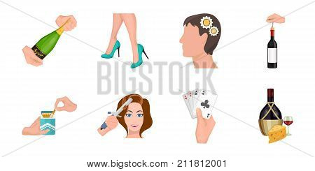 Manipulation by hands icons in set collection for design. Hand movement vector symbol stock  illustration.