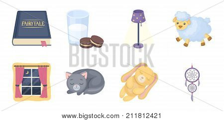 Rest and sleep icons in set collection for design. Accessories and comfort vector symbol stock  illustration.
