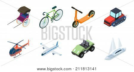 Different types of transport icons in set collection for design. Car and ship isometric vector symbol stock  illustration.