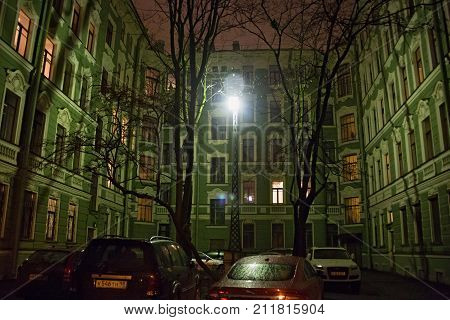SAINT PETERSBURG, RUSSIA - NOVEMBER 03, 2014: Impressive house Kolobov (by name of the past owners) in the Petrograd district. The house was built in 1908-1910 in the neo-baroque style by S. Ginger.