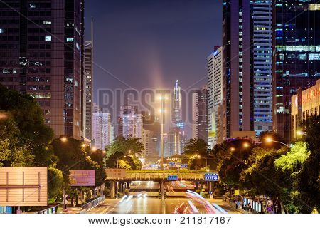 Shennan East Road And Ping An Ifc In Shenzhen