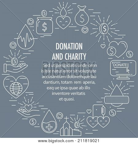 Donation circle template from line icons element. Circle with different donation white icons elements on gray background. Donation blood and money, charity concept. Vector illustration