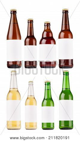 Beer bottles collection different type and colors with blank white label isolated mock up. Template for advertising design branding identity.