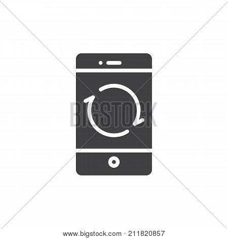 Smartphone reload button icon vector, filled flat sign, solid pictogram isolated on white. Mobile phone restarting function symbol, logo illustration.