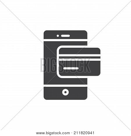 Smartphone with debit card icon vector, filled flat sign, solid pictogram isolated on white. Online payment with mobile phone symbol, logo illustration