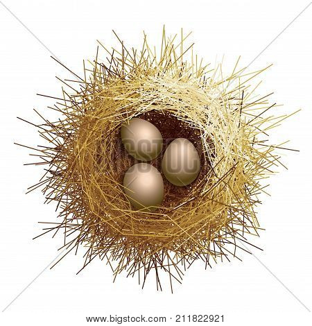 Vector birds nest with eggs. Top view. Eps8. RGB Global colors